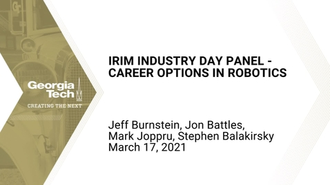 Thumbnail for entry Industry Day Panel - Career Options in Robotics