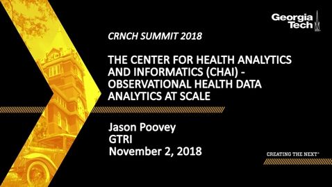 Thumbnail for entry Jason Poovey - The Center for Health Analytics and Informatics (CHAI) – Observational Health Data Analytics at Scale