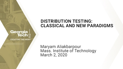 Thumbnail for entry Maryam Aliakbarpour - Distribution testing:  Classical and new paradigms