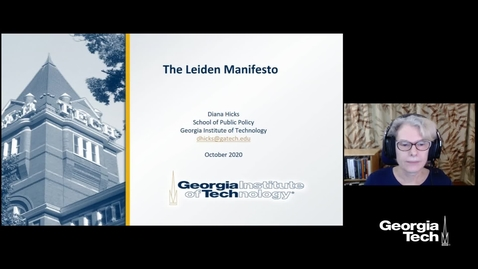 Thumbnail for entry Diana Hicks - Best Practices in Research Metrics: A Conversation with the lead author of the Leiden Manifesto