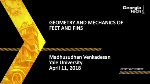 Thumbnail for entry Geometry and Mechanics of Feet and Fins - Madhusudhan Venkadesan