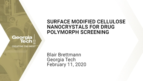 Thumbnail for entry Blair Brettmann - Surface Modified Cellulose Nanocrystals for Drug Polymorph Screening