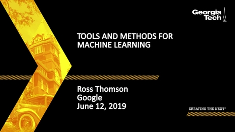 Thumbnail for entry Ross Thomson - Tools and Methods for Machine Learning
