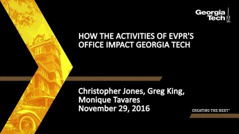 Thumbnail for entry How the Activities of EVPR's Office Impact Georgia Tech - Christopher Jones, Greg King, Monique Tavares