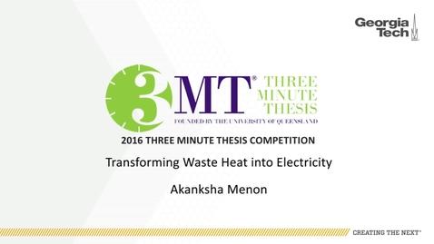 Thumbnail for entry Transforming Waste Heat Into Electricity - Akanksha Menon