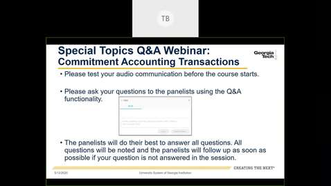 Thumbnail for entry Special Topics Q&A  Webinar: Commitment Accounting Transactions- 05/12/2020