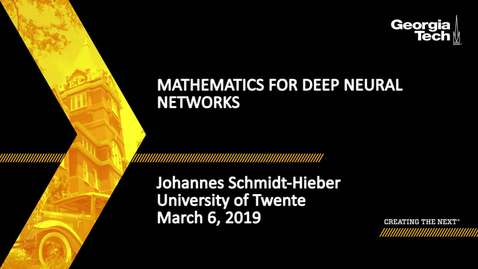 Thumbnail for entry Johannes Schmidt-Hieber - Mathematics for Deep Neural Networks (Lecture 1/5)