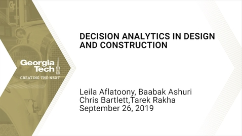Thumbnail for entry Decision Analytics in Design and Construction