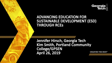 Thumbnail for entry Jennifer Hirsch, Kim Smith - Advancing Education for Sustainable Development (ESD) Through RCEs