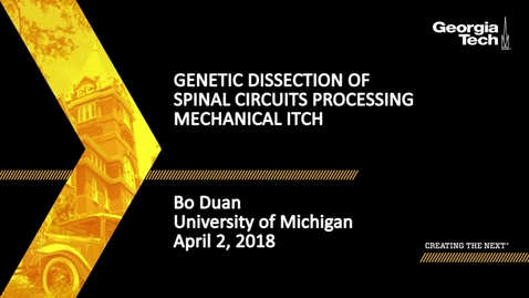 Thumbnail for entry Genetic Dissection of Spinal Circuits Processing Mechanical Itch - Bo Duan