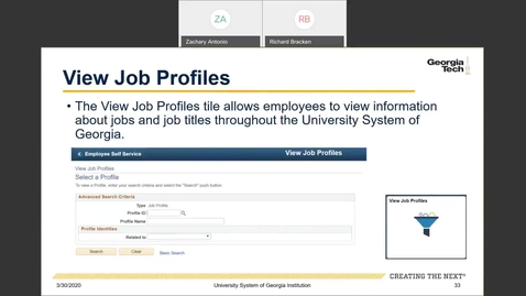 Thumbnail for entry Introduction to Employee Self-Service and Faculty Self-Service--ESS Tiles: View Job Profiles