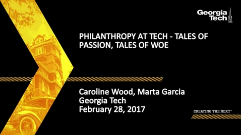 Thumbnail for entry Philanthropy at Tech - Tales of Passion, Tales of Woe - Marta Garcia, Caroline Wood