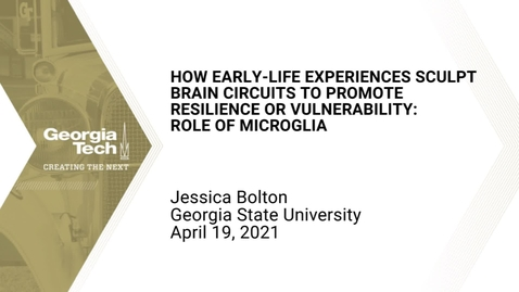 Thumbnail for entry Jessica Bolton - How Early-life Experiences Sculpt Brain Circuits to Promote Resilience or Vulnerability: Role of Microglia