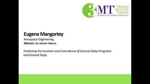 Thumbnail for entry Eugene Mangortey - Predicting the Duration and Coicidence of Ground Delay Programs and Ground Stops