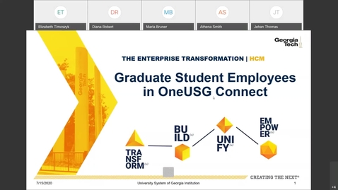 Thumbnail for entry Graduate Student Employees in OneUSG Connect Session - 7/15/20