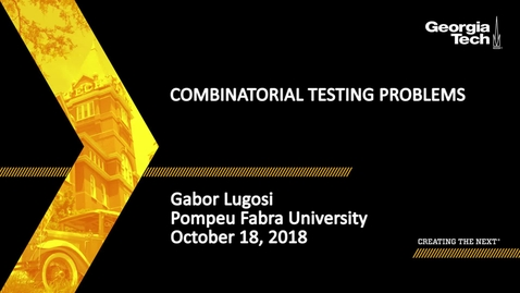 Thumbnail for entry Gabor Lugosi - Combinatorial Testing Problems
