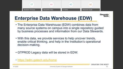 Thumbnail for entry Workforce Administration -- Enterprise Data Warehouse (EDW)
