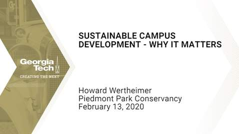 Thumbnail for entry Howard Wertheimer - Sustainable Campus Development - Why it Matters