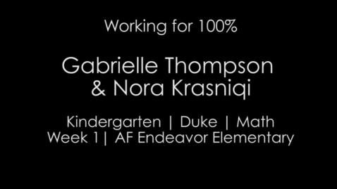 Thumbnail for entry Week 1 - 100% and MVP Narration Kindergarten