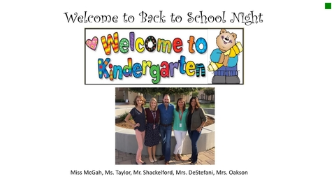 Thumbnail for entry Kinder Back to School Night 2018