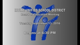 Thumbnail for entry 2016-09-13 School Board Meeting