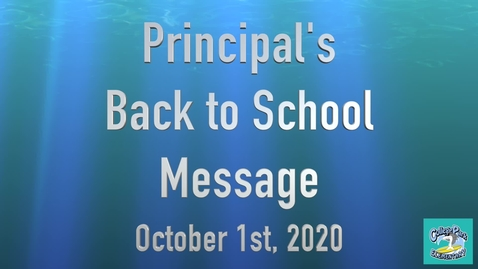 Thumbnail for entry Principal's Message October 2020