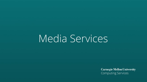 Thumbnail for entry Media Services - New Services Spring 2021