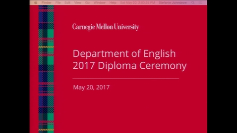 Thumbnail for entry Department of English 2017 Diploma Ceremony