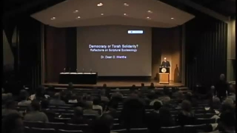 Thumbnail for entry Symposia 2011 - Democracy or Torah Solidarity? Reflections on Scriptural Ecclesiology - Video