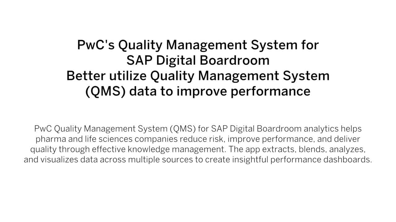 PwC's Quality Management System for SAP Digital Boardroom