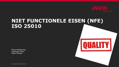 Thumbnail for entry 3 NFE en ISO25010 - introductie