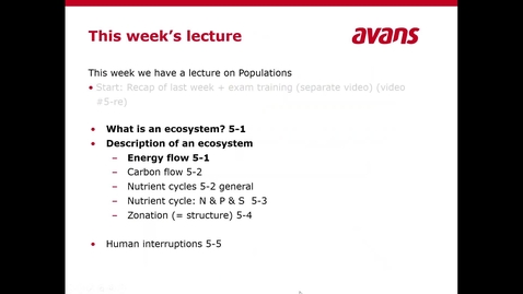 Thumbnail for entry Ecology lecture 5 Ecosystems, video clip 5-1 definition and energy flow