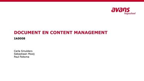 Thumbnail for entry Document en Content Management Opdracht 3