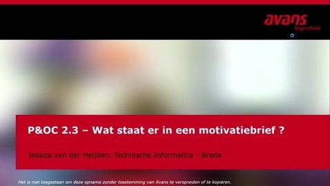 Thumbnail for entry P&OC2.3 - Wat staat er in een motivatiebrief ?