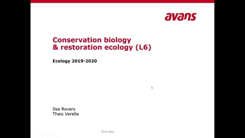 Thumbnail for entry Ecology Lecture 6: conservation and restoration - recap
