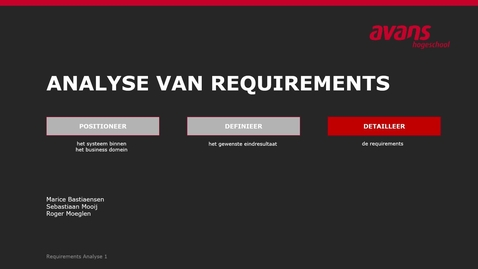 Thumbnail for entry Analyse van Requirements