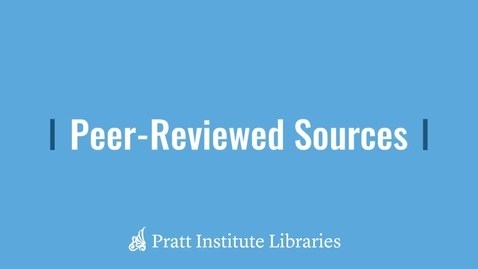 Thumbnail for entry Peer-Reviewed Sources