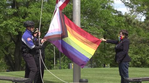 Thumbnail for entry 2020 Progress Pride Flag Raising at Bentley