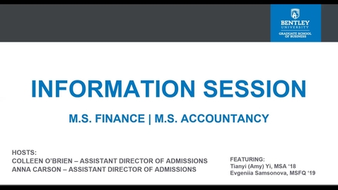 Thumbnail for entry M.S Accountancy / M.S. Finance Information Session Webinar