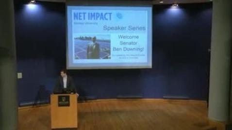 Thumbnail for entry Net Impact Speaker Series: Senator Ben Downing - 2/9/2016