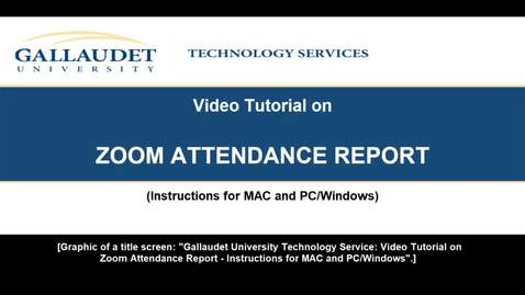 Thumbnail for entry ZOOM ATTENDANCE REPORT video tutorial