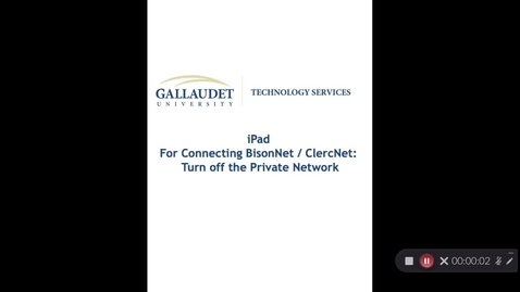 Thumbnail for entry iPad; Turning Off The Private Address