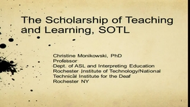 Thumbnail for entry Christine Monikowski - The Scholarship of Teaching and Learning - 11/16/13