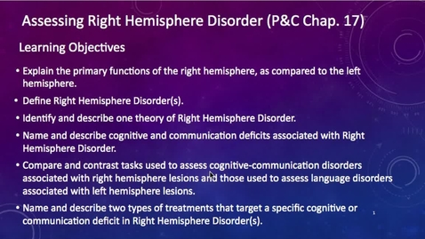 Thumbnail for entry Week 11: 1/2 Assessment of Right Hemisphere Disorder