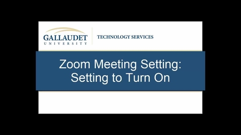 Thumbnail for entry Zoom Meeting Setting: Setting To Turn On