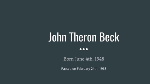 Thumbnail for entry Beck, John Theron