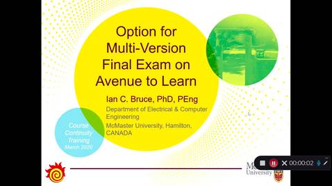 Thumbnail for entry Option for Multi-Version Final Exam on Avenue to Learn