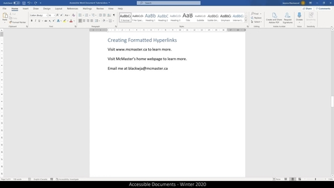 Thumbnail for entry 03 Accessible Word Documents - Hyperlinks.mp4