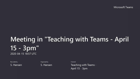 Thumbnail for entry Teaching with Teams