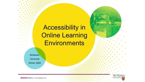 Thumbnail for entry 01 Accessibility in Online Learning Environments
